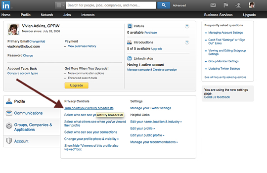Turn off Activity Broadcasts on LinkedIn profile