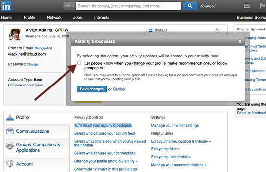 Uncheck Activity Broadcast on LinkedIn Settings