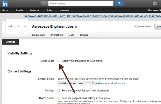 uncheck visibile groups setting on linkedin profile