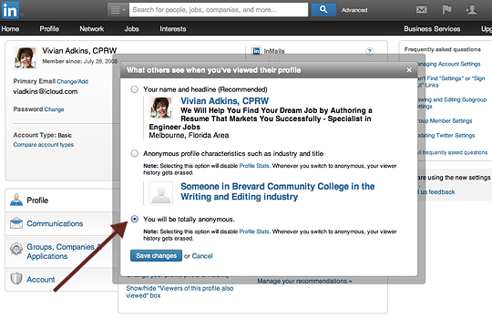 View other LinkedIn profiles anonymously