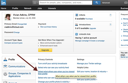 Select What Others See in LinkedIn Settings